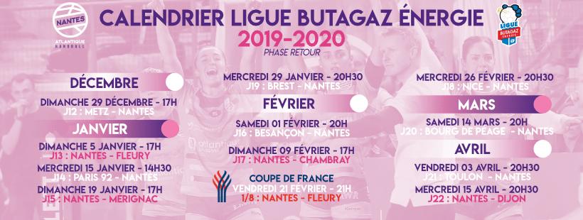 Les dates de la phase retour de la Ligue Butagaz Energie sont sorties !